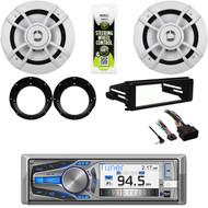 AM615BT Bluetooth CD Radio-Harley FLHT FLHX Installation Kit,Speakers & Adapters