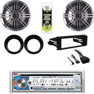 "Harley FLHT FLHX Install Kit, Bluetooth Stereo, Polk 6.5"" Speakers w/Adapters"