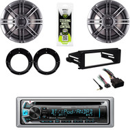 "Kenwood CD Bluetooth Stereo, Harley FLHTC DIN Adapter Kit,6.5"" Speakers,Adapters"