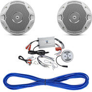 "JBL MS6510 6-½"" Dual Cone Marine Speakers - (Pair) White, 14 Gauge 50 Foot Marine Speaker Wire , Pyle PLMRMBT7S Marine Grade 1200 Watt Amp Bluetooth 4-Channel Amplifier (Silver)"
