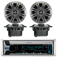 "Kenwood KMR-D765BT Marine Boat Yacht Outdoor CD MP3 USB AUX Bluetooth AM/FM Radio Receiver, Pair of Kicker 41KM652C 6.5"" 2-Ohm Marine Speakers"