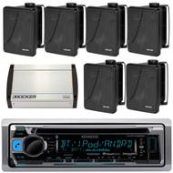 "Kenwood KMR-D368BT Marine Boat Yacht CD MP3 Bluetooth Stereo AM/FM iPod iPhone Radio Player, Kicker 11KB6000B Black Full Range indoor/outdoor Weather Resistant 6.5"" Enclosed Box Speakers, Kicker 40KXM400.4 4-Channel 400 Watts Marine Amplifier"