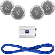 """JBL MS6510 6-½"""" Dual Cone Marine Speakers - (Pair) White, 14 Gauge 50 Foot Marine Speaker Wire , JBL MA6004 4-Channel Full-Range Marine Amplifier"""