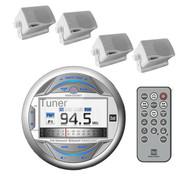 "Dual AUX iPod Bluetooth USB Marine 3"" LCD Radio & 4 White Box Marine Speakers"