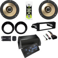 "Harley FLHX DIN Kit, Polk 6.5"" Speakers/Adapters, XM TUner Bluetooth Amplifier"
