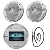 "Lanzar AQR82S Waterproof Bluetooth Marine Silver Digital Media Receiver Stereo Radio, JBL MS6510 300-Watt 6-1/2"" MS Series Dual Cone Marine Speakers, EKMR1 Enrock Marine Black Wire Antenna"