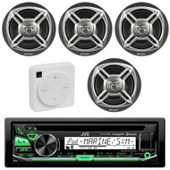 "Package Bundle Kit Includes: 1 JVC KD-R97MBS Bluetooth Stereo USB/AUX CD Player Receiver Unit + 4x (2 Pairs) of Enrock EKMR1672B 6-1/2"" Inch Charcoal / Silver Marine Speakers + 1 Dual XGPS10M Boat Bluetooth Wireless GPS Receiver"