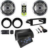 "6.5"" Polk Speakers/Adapters, XM Tuner,Harley FLHX Install DIN Kit, Bluetooth Amp"