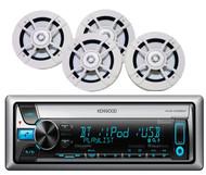"Kenwood 6.5""White Marine Speakers & Kenwood Marine Bluetooth CD USB AUX Receiver"