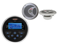 "MS30 Marine USB AUX AM FM Jensen Radio, 2 Silver 6.5"" 150W 2Way Marine Speakers"