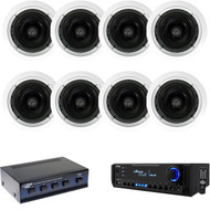 "300W 8"" In-Ceiling Speakers & Speaker Selector, Pyle Home USB SD AUX Receiver"