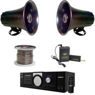 "5"" PA Mono Extension Horn Speakers, Speaker Wire, Mono PA Amplifier, Mic Set"
