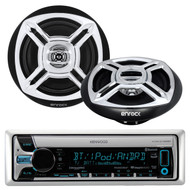 "Kenwood KMR-D765BT CD MP3 USB AUX Bluetooth Receiver, Enrock Marine Boat 6.5"" Inch Dual-Cone Black/Chrome Stereo Speakers"