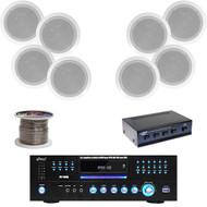 "8"" 300W In-Ceiling Speaker Set, DVD USB Receiver, Speaker Wire, Speaker Selector"