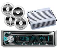 "Kenwood CD USB Bluetooth iPod Radio, 6.5"" White Speakers, 400W Marine Amplifier"
