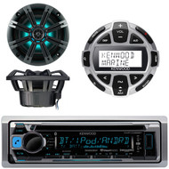 Kenwood KMR-D368BT Marine Boat Yacht CD MP3 Bluetooth Stereo AM/FM iPod iPhone Radio Player, Kenwood KCA-RC55MR Wired Remote, Kicker KM654LCW 6.5 Inch 2-way Marine Speaker Pair with Built-In LED Lighting