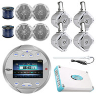 "6.5"" Marine Speaker Set, Wires, 4800W Amp, Bluetooth Marine Gauge Radio, Antenna"