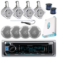 "KMRD368BT Bluetooth CD USB Marine Radio, 4800W Amp, Antenna, 6.5"" Speakers/Wires"