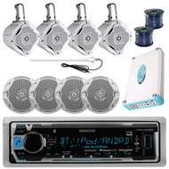 "Marine 6.5"" Speaker Set, Wires, Kenwood Bluetooth USB Radio, 4800W Amp, Antenna"
