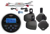 "4Channel Marine Amplifier, MS30 Marine USB AUX AM FM Radio, 6.5"" Black Speakers"