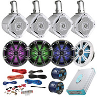 "This Bundle Combo Kit Includes 4 X Kicker 41KM654LCW 6.5 Inch Marine Boat Stereo LED Speakers + 4 X 6 1/2"" White Wakeboard Speaker + Lanzar AQA830BTSL 300 Watt 8 Channel Bluetooth Amplifier + 8 Gauge Amp Installation Kit + 100 Foot Speaker Wire"