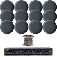 "Pyle 5.25"" 150W 2Way In-Ceiling Black Speakers,6 Channel Speaker Selector, Wire"