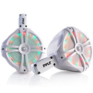 Pyle Marine Wakeboard Water Resistant Speakers, Built-in Programmable Multi-Color LED Lights, 6.5'' Tower Speakers, 200 Watt, Remote Control, White (Pair)