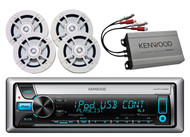 KMRD368 CD USB iPod Radio+Kenwood 400W Amplifier& 4 Kicker 100W Marine Speakers
