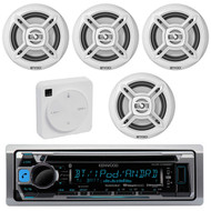 "Package Bundle Kit Includes: 1 Kenwood KMR-D368BT Bluetooth Stereo USB/AUX CD Player Receiver Unit + 4x (2 Pairs) of Enrock EKMR1672B 6-1/2"" Inch White Marine Speakers + 1 Dual XGPS10M Boat Bluetooth Wireless GPS Receiver"