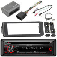 Kenwood CD AUX Mp3 Radio, Harley Touring FLHTC FLHX Installation Adapter Kit