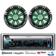 "2 Kicker 10"" 2ohms Marine Subwoofers, Kenwood iPod Bluetooth CD USB Marine Radio"