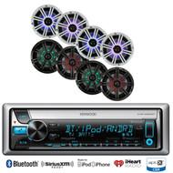 """Kenwood iPod Bluetooth CD Marine Radio, 4 Kicker 8"""" Multi Color LED Speaker Set"""