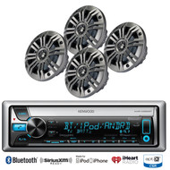 "Kenwood iPod Bluetooth CD USB Marine Radio, 4 Kicker 6.5"" 2ohm Marine Speakers"