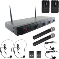 New Pyle PDWM4540 Rack Mount 4 Channel UHF Wireless Microphone System, 2 Handheld Microphones, 2 Body-Pack Headset & 2 Lavaliere Mics
