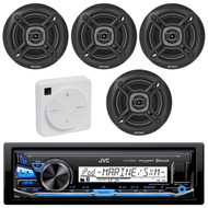 "Package Bundle Kit Includes: 1 JVC KD-X35MBS Bluetooth Stereo USB/AUX Receiver Unit + 4x (2 Pairs) of Enrock EKMR1672B 6-1/2"" Inch Black Marine Speakers + 1 Dual XGPS10M Boat Bluetooth Wireless GPS Receiver"