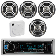 "Package Bundle Kit Includes: 1 Kenwood KMR-M318BT Bluetooth Stereo USB/AUX Receiver Unit + 4x (2 Pairs) of Enrock EKMR1672B 6-1/2"" Inch Charcoal / Silver Marine Speakers + 1 Dual XGPS10M Boat Bluetooth Wireless GPS Receiver"