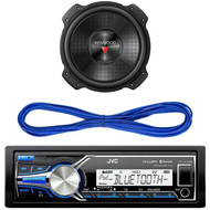 "JVC KD-X35MBS iPod & Android Digital Media Bluetooth Marine, Powersport Car Receiver, Kenwood 12"" 2000w Max Subwoofer KFC-W3016PS, 14 Gauge 50 Foot Speaker Wire"