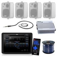 Pyle PLRVST300 RV Wall Mount Bluetooth CD/DVD Receiver Bundle Combo With 4x Enrock White 4'' Waterproof Stereo Box Speaker + Radio Antenna + 400 Watt Amplifier + 18G 50-FT Wire