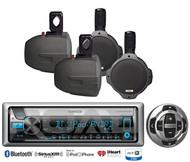 "Marine Kenwood USB Bluetooth CD Radio/Wired Remote,4 Boat 6.5""Wakeboard Speakers"