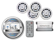 "Marine LCD USB AUX Bluetooth Receiver & 6.5""Kenwood Marine Speaker Set,Amplifier"