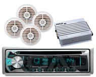 "4 White 5.25"" Speakers,400W Amplifier,Kenwood Marine Bluetooth CD USB iPod Radio"