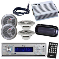 Marine Boat AM/FM CD MP3 USB Receiver/ Bluetooth & Cove 400W Amp 4 Speakers Pkg