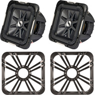 """Package Bundle Combo Inludes 2x KICKER S10L74 10"""" Inch 2400 Watt 2-Ohm Car Audio Square Subwoofer = 2x Kicker 11L710GLC 10"""" Square Grill With LED Lighting for Solo-Baric L7 Subwoofer - Charcoal"""