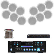 "300W 8"" In-Ceiling Speakers, Speaker Selector,Speaker Wire, USB DVD Mp3 Receiver"