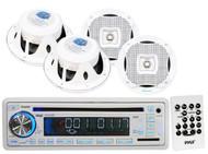 "Lanzar White Marine 6.5"" 2Way Speakers, Pyle Marine USB CD AUX Mp3 SD Receiver"