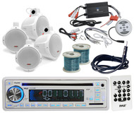 "6.5""Marine Wake Board Speakers/Wires, Pyle USB CD Radio/Antenna, 1200W Amplifier"
