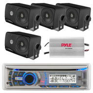 Dual AMB600W Bluetooth CD Receiver with Weatherband Tuner, Pyle PLMR24B 3.5'' 200 Watt 3-Way Weather Proof Mini Box Speaker System (Black), PLMRMP3A Pyle 4 Channel Waterproof MP3/ Ipod Marine Power Amplifier (White)