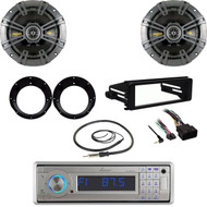 USB Bluetooth Stereo, Harley FLHX Dash Install Kit, Kicker Speaker Set, Antenna