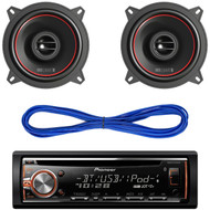 """Pioneer DEHX6900BT CD/MP3 Bluetooth Receiver Aux Input USB Multicolor Illumination With Remote, Pair RKM113 MB Quart 5.25"""" Inch Reference Series Car Audio Speakers, 14 Gauge 50 Foot Speaker Wire"""