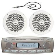 "4 x 45 Watt JBL MR18.5 AM/FM Radio Waterproof Marine Stereo Receiver, Q Power 6.5"" Inch White Coaxial Speaker, EKMR1 Enrock Marine Black Wire Antenna"